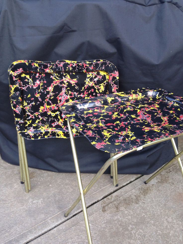 Mid century modern TV tray tables  set of 3 folding metal - black red yellow splatter marble pattern by shhhitsvintage on Etsy https://www.etsy.com/listing/452472258/mid-century-modern-tv-tray-tables-set-of