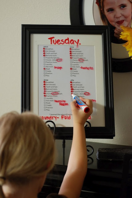 summer ideas- chore charts. I'm totally copying this gal! Love her chore chart and philosophy!