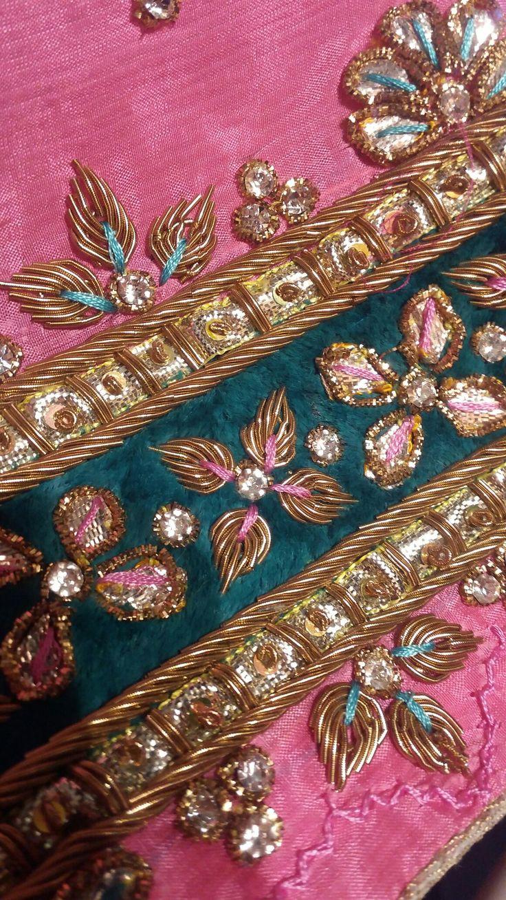 Gota pati and dabka embroidery