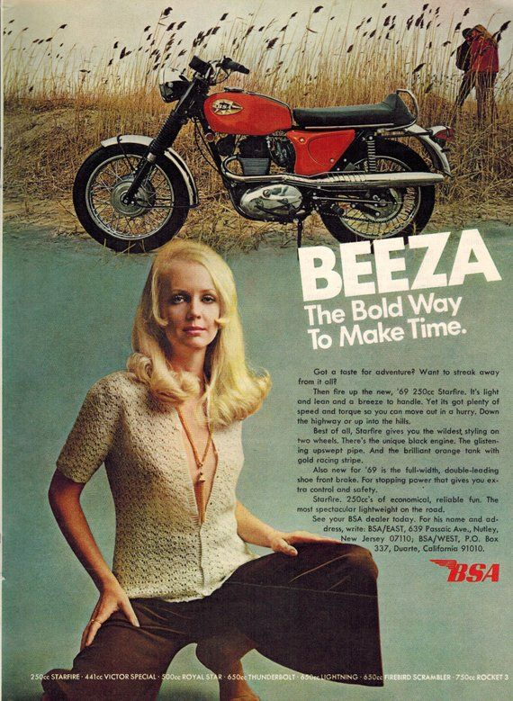 Vintage Print Ad May 1969 : BSA Beeza Motorcycle Sexy Girl Wall Art