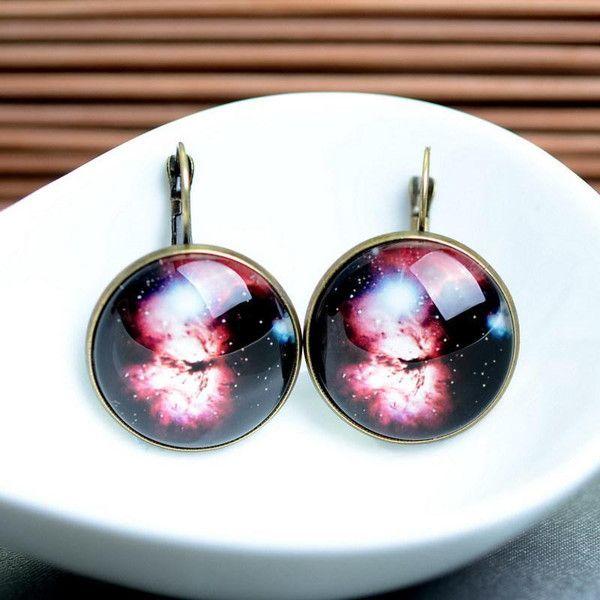 Glas Ohrringe lieben Galaxis Berühmtheite  gold 25 von Schmuck auf DaWanda.com
