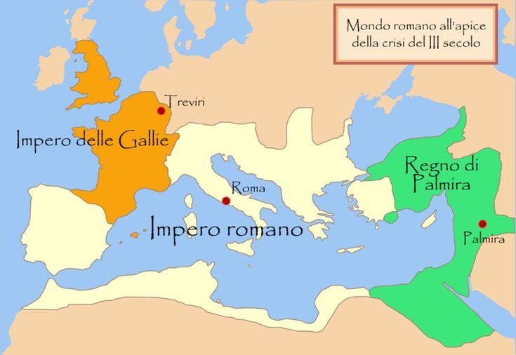 """L'Impero romano degli imperatori """"legittimi"""" al centro, con l'Impero delle Gallie ad Occidente, il Regno di Palmira  a Oriente, all'apice del periodo dell'Anarchia militare (260-274). http://marchingegno88.blogspot.it/2014/02/letteratura-latina-tardo-antica04.html?utm_source=BP_recent&utm-medium=gadget&utm_campaign=bp_recent"""