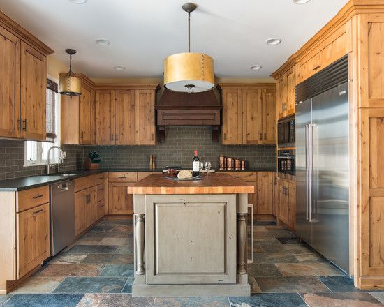 Furniture, Attractive Rustic Kitchen With Knotty Pine Cabinets Also Classic Kitchen Island Design Also Gray Tile Kitchen Backsplash Also Gorgeous Pendant Lights And Stainless Refrigerator: Knotty Pine Cabinets with Natural Look