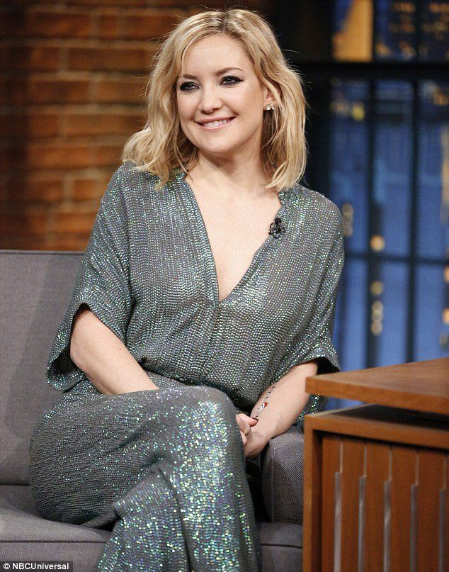 Kate Hudson wears the Temperley London Glimmer Sequin Jumpsuit from Pre-Fall 16 to The Late Night with Seth Meyers.