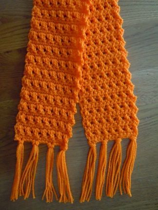 Use the crossed double crochet stitch to make this quick and easy scarf - like the criss cross