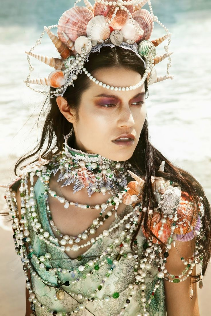 Siren's Treasure - OOAK Vintage Shell, Pearl, Lace, Crystal, Sea Glass and Bijou…