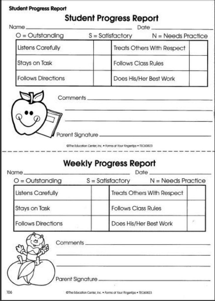 preschool weekly report template 6  professional