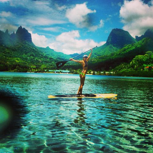 Paddleboarding in Moorea, France (Society Islands) near Tahiti. WOW