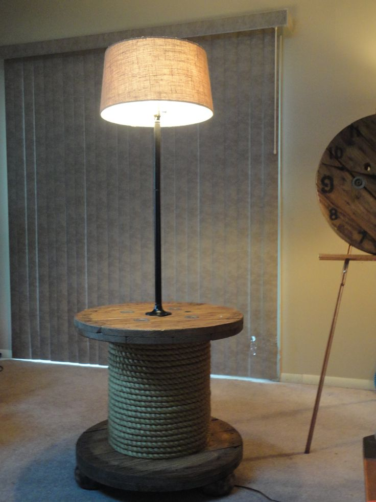 87 best bobinas de cable images on pinterest wooden cable spools my dad made this spool table lamp he is so creative greentooth Choice Image