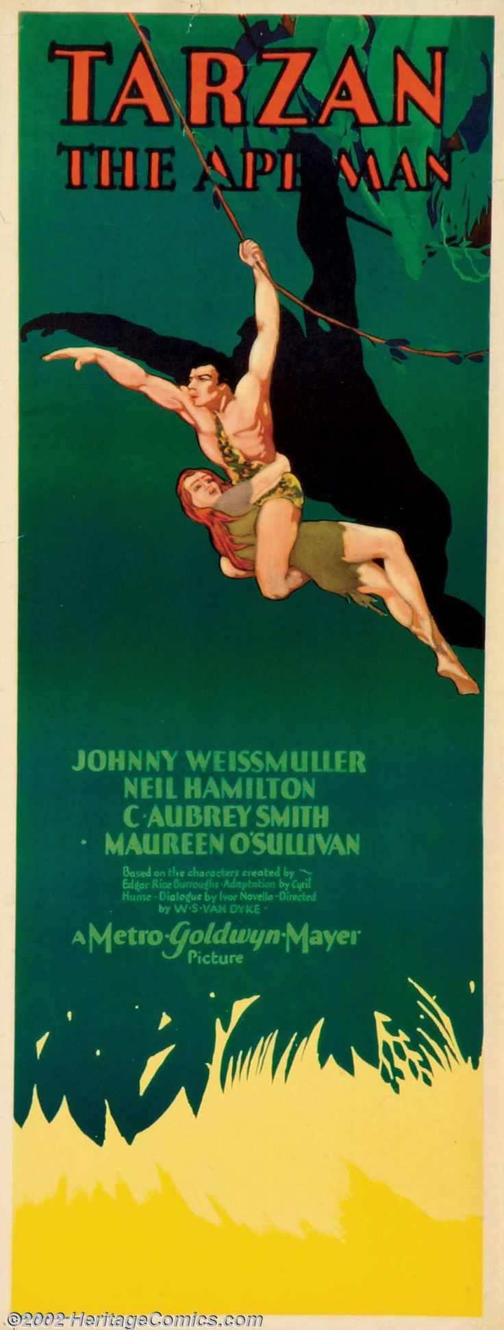 "Movie Posters:Adventure, Tarzan the Ape Man (MGM, 1932). Insert (14"" X 36""). JohnnyWeissmuller, a 28 year old Olympic gold medalist made his debuta... Image #1"