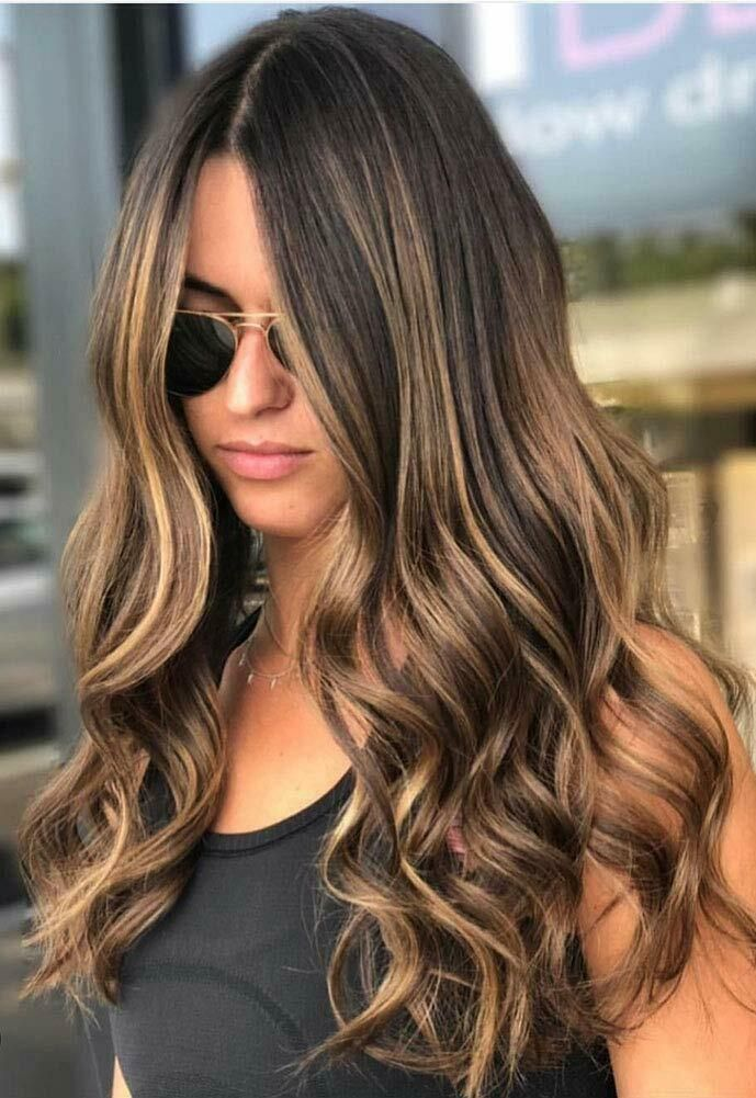Sunny U Part Half Wig Brown Highlights 4/27# 100% Remy Human Hair Straight | Brown hair with blonde highlights, Hair color balayage, Brunette hair color