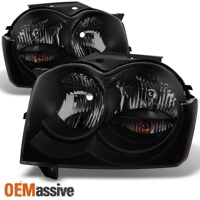 05-07 Jeep Grand Cherokee *Black Smoke* Headlights Front Lamps Replacement Pair #OEMASSIVE