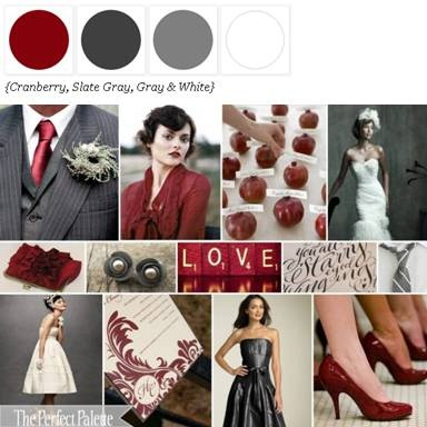 color palette: cranberry, slate gray and white