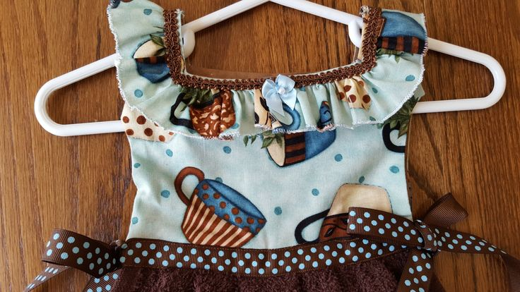 Coffee Cups in Brown Blue Oven Door Kitchen Dish Towel Dress by TowelswithaTwist on Etsy
