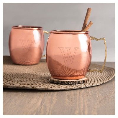 Cathy's Concepts 2pc Monogram Moscow Mule Copper Mugs M, Brown