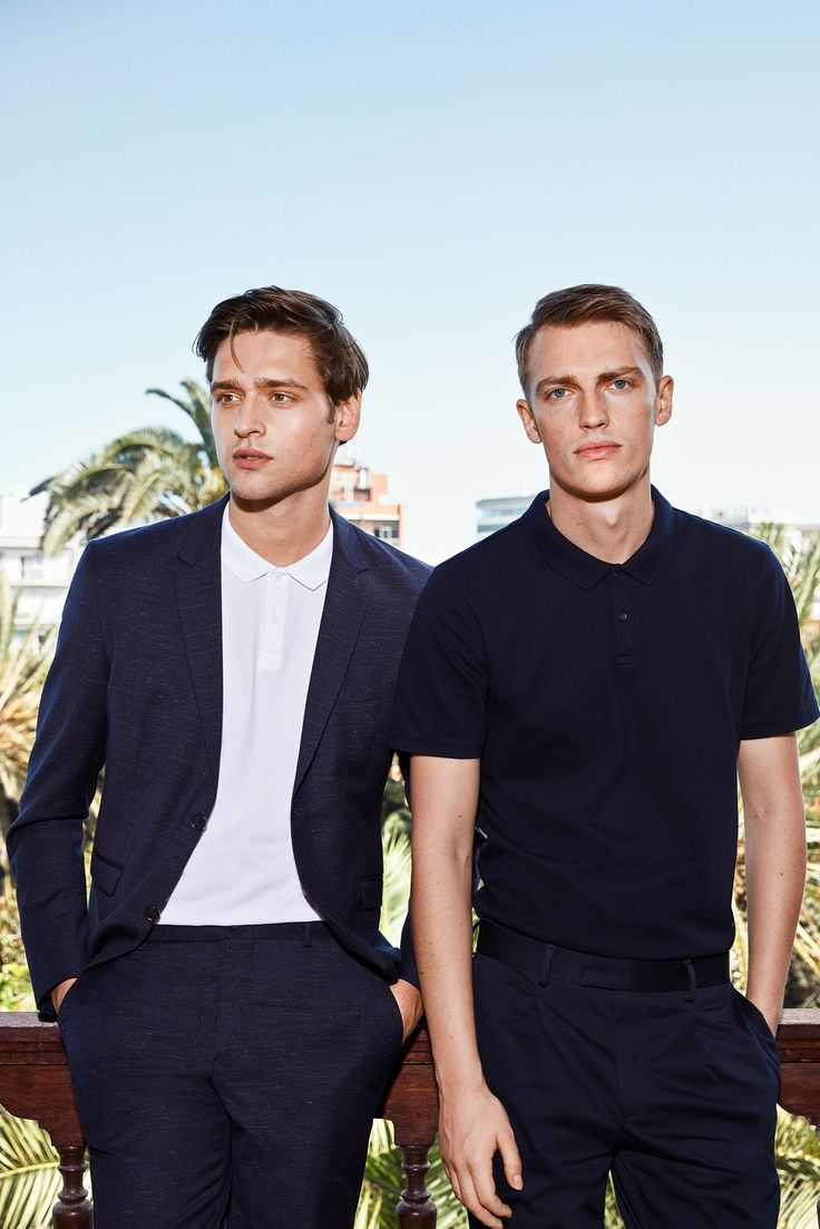 Spring party looks for men: suit up and spice it up with a polo instead of a shirt for a cool smart casual look | JACK & JONES