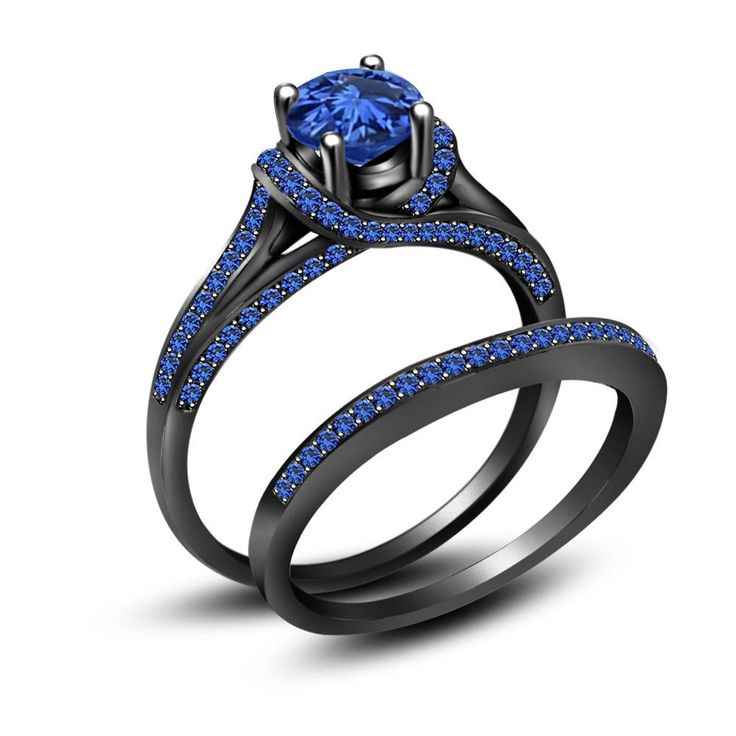 3.50 ct Blue Sapphire Full Black 925 Sterling Silver Engagement Wedding Ring Set