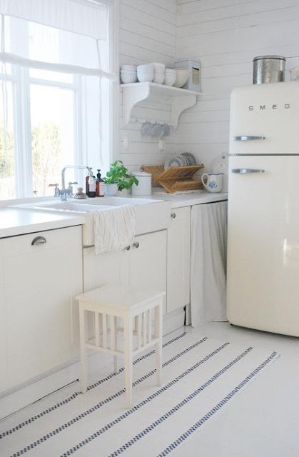 white kitchen / smeg fridge - http://www.smeg50style.com/en-GB