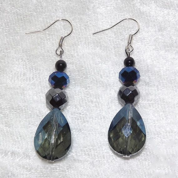 Earrings  Frozen Drops  Glass & Gemstone  Free UK by KasumiCrafts