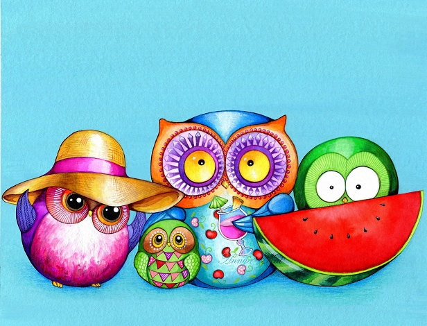 Beach Fun Owl Family - OWL ART Unique Painting by Annya Kai - Colorful Wall Art for Children Kids Room Nursery. $18,00, via Etsy.