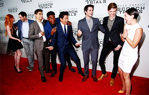 Katherine McNamara, Wes Ball, Alex Flores, Dexter Darden, Ki Hong Lee, Dylan O'Brien, Thomas Brodie-Sangster and Rosa Salazar attend 'Maze Runner: The Scorch Trials' New York Premiere at Regal E-Walk on September 15, 2015 in New York City.