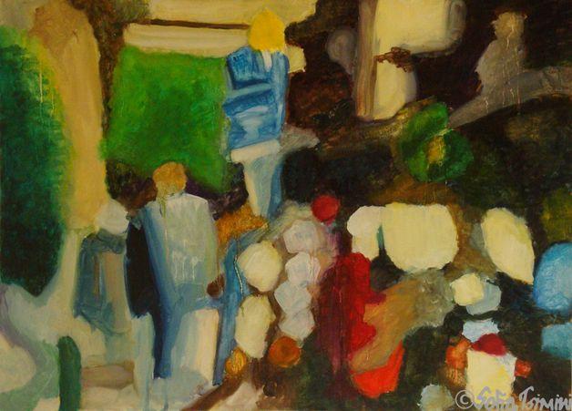 """Original Oil painting """"Theatrou Square"""""""