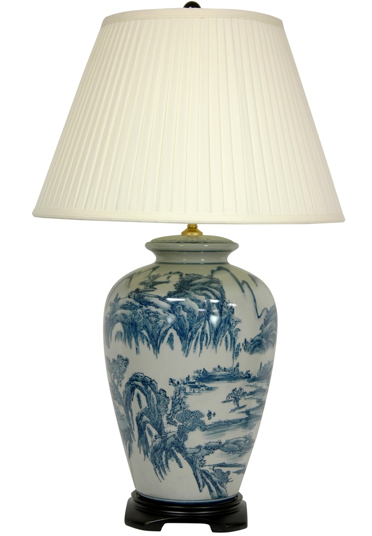 Oriental Furniture Chinese Landscape Oriental Lamp in Blue and White