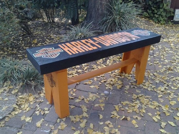 Harley Davidson Wooden Bench . AL0371 ...