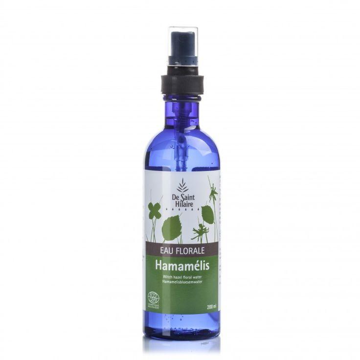 Eau florale d'Hamamélis biologique recommandée pour les peaux sensibles et les rougeurs.