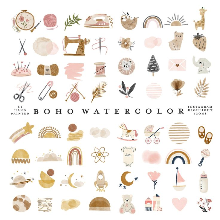 64 instagram story highlight icons bundle the watercolor