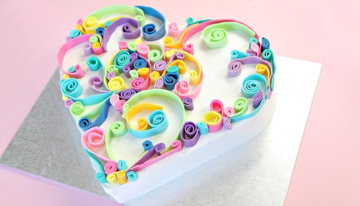 // Not a typo, this is cake, not paper! This rainbow heart cake is perfect to make the one you love. I love paper quilling, and with a delicious rainbow centre, this cake is sure to be loved. SUBSC…