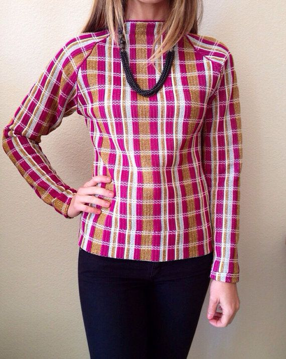 1970's Raglan Metallic Plaid Sweater Blouse by shopvintageclectic, $18.00