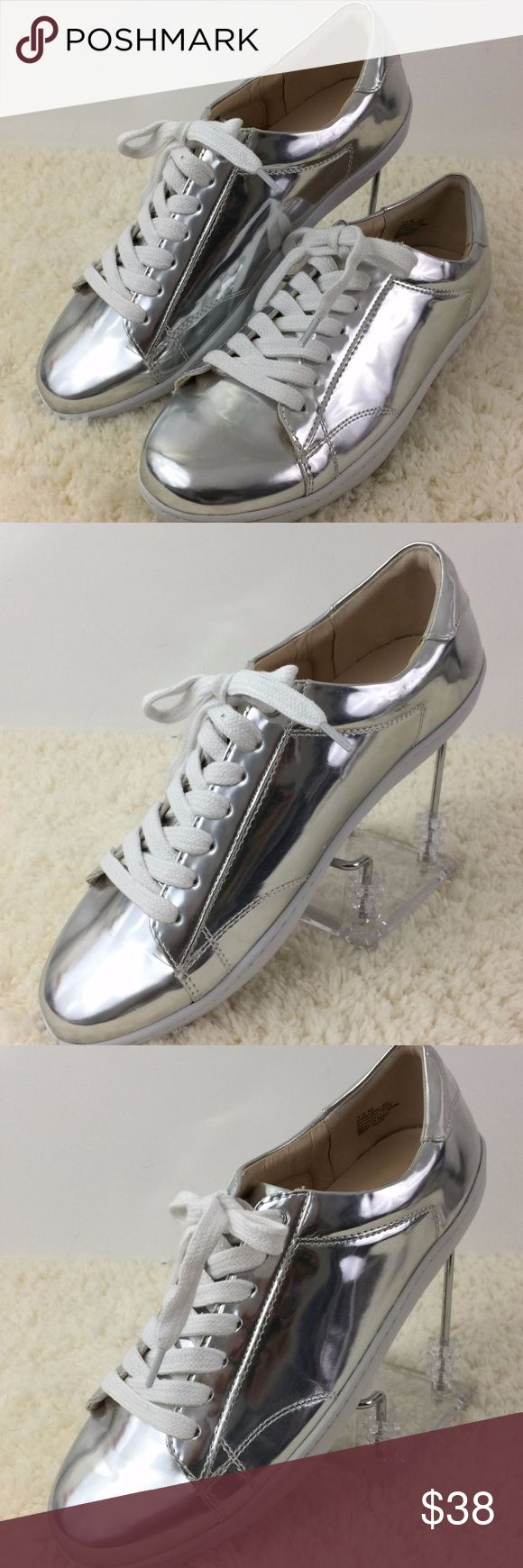 Nine West Lace Up Silver Everyday Sneaker Shoes Nine West Ladies Flat Lace Up Casual Sneaker Shoes Size 10 M Silver White  Style: Casual Size Type: Regular Model: hearmeout metallic US shoe size: 10M Color: Silver White Nine West Shoes Sneakers