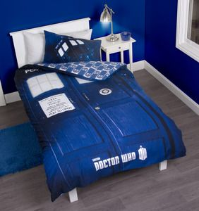 Sleep soundly with this Doctor Who themed bed set! Includes two pillow cases.