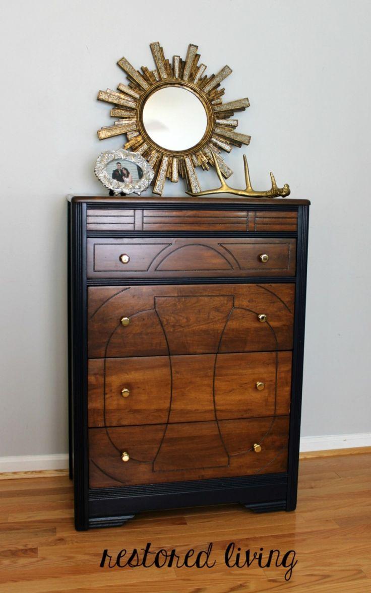 Gel stains oil based saah furniture - Art Deco Dresser In Antique Walnut Coastal Blue General Finishes Design Center