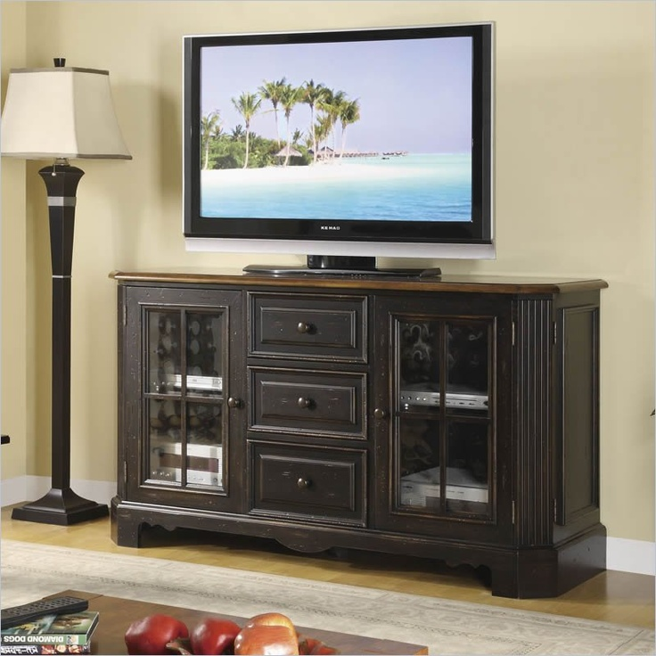 $1291 Riverside Furniture Delcastle 60 Inch High Waist TV Stand In Aged  Black And Antique Irish
