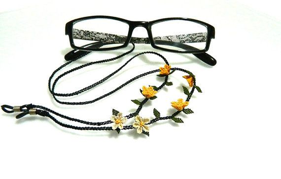 Glasses strap. Yellow. 7080 cm. Silk embroidery. by guldemirdinc, $45.00