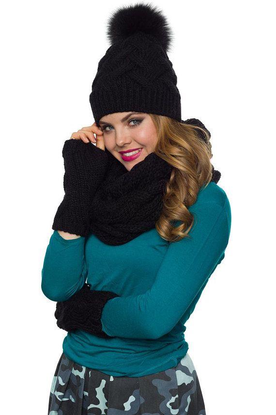 66acb08f357 Womens hat scarf and glove set Pom pom hat Infinity scarf