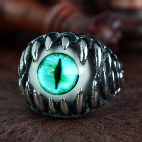 Men-039-s-Gothic-Biker-Dragon-Teeth-Turquoise-Cat-Eye-Silver-Stainless-Steel-Ring