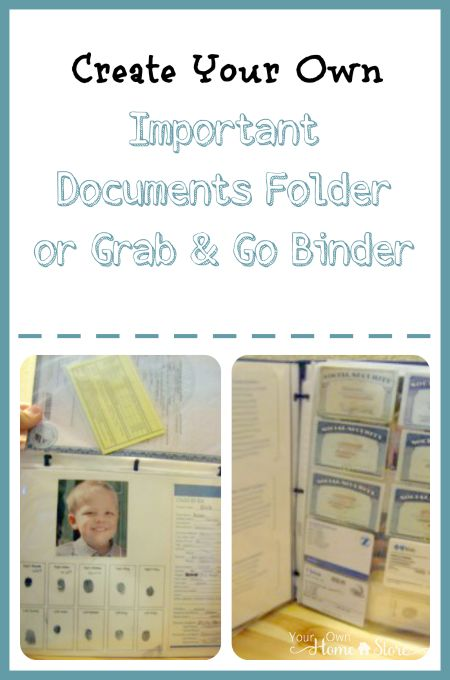 Having an important documents folder / grab and go binder can be helpful everyday and essential in an emergency. Use these printables to create yours today!