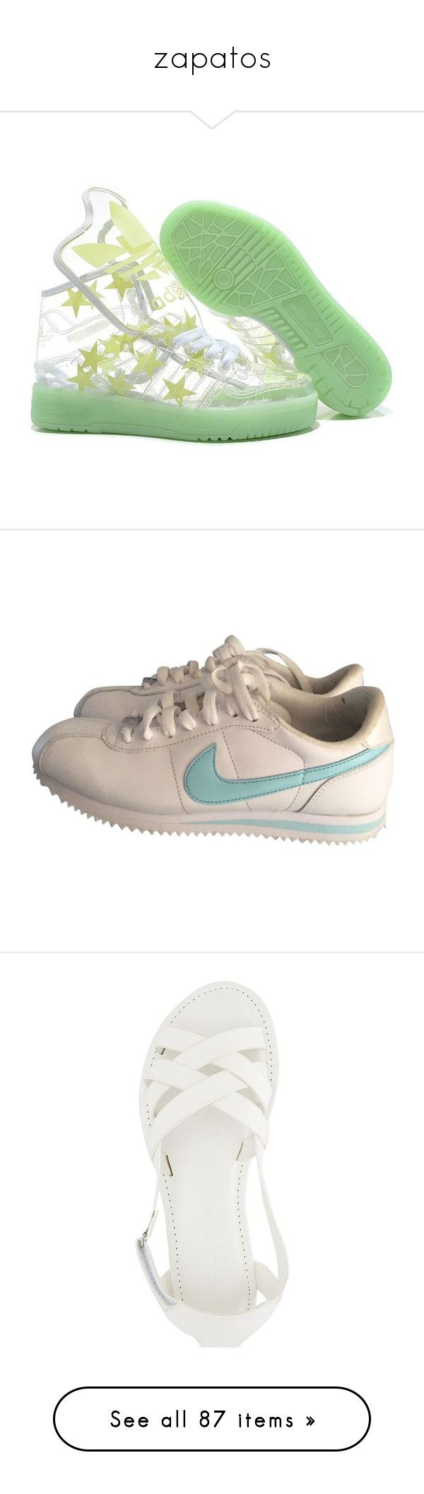 """""""zapatos"""" by iamdeadpoetry ❤ liked on Polyvore featuring Boots, shoes, Unique, booties, sneakers, shoes - sneakers, nike trainers, white trainers, white sneakers and leather trainers"""