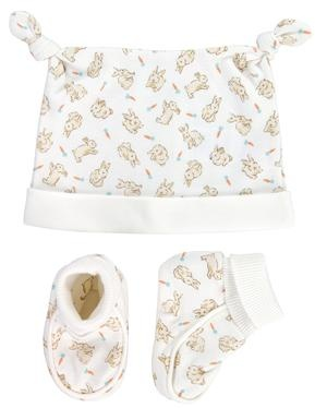 A perfect gift for new parents, this little set contains a lovely knotted hat and booties in our unisex Bunnies print.