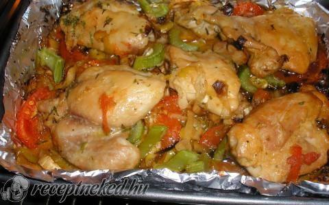 Zöldséges tepsis csirke recept fotóval