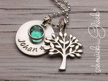 Taufkette mit Gravur Lebensbaum Baum Silber Taufe
