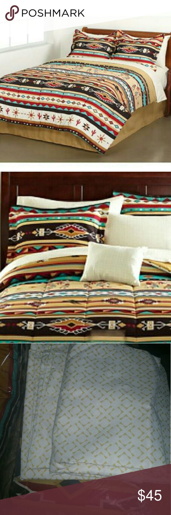 """Southwest Turquoise Tan Red Native American Full. The Mainstays Kokopelli Stripe Bed in a Bag Bedding Set features classic geometric patterns and kokopelli silhouettes. Tans, reds and turquoise create a distinctly southwestern feel. The soft and cozy microfiber comforter has a tan reverse and comes with coordinating shams, a bed skirt and a complete sheet set. It's machine washable for easy care.Full set includes: comforter (76"""" x 86""""), flat sheet (81"""" x 96""""), 2 standard pillowcases (20"""" x…"""