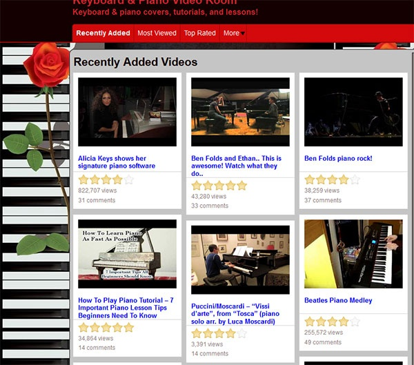 A video site for piano covers, tutorials, and free piano lessons.