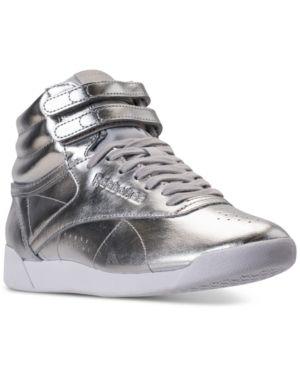 Reebok Women's Freestyle Hi Top Metallic Casual Sneakers from Finish Line - SILVER MET/STEEL/WHITE 6
