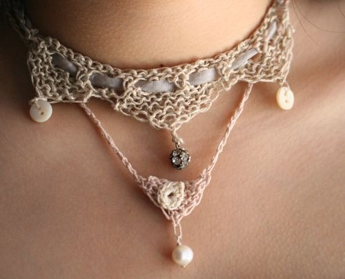 So pretty & delicate - crocheted Pink Pointe necklace with a single pearl & button/loop closure; crocheted & knitted 3-point choker with ribbon, buttons, & rhinestone ~ designed by Jenny Doh #crochet #jewelry #necklace