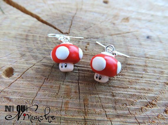 Boucles d'oreilles champignon mario rouge et blanc toad (fimo)