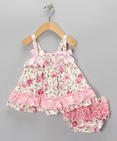 Look at this #zulilyfind! Pink Rose Swing Tunic & Diaper Cover - Infant by Diva Daze #zulilyfinds